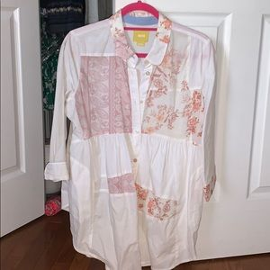 Maeve White Flower Patterned Button Down